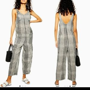 Topshop Black and White Gingham Check Jumpsuit